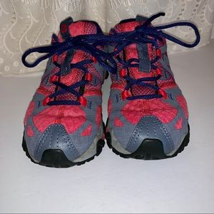 Merrell gray and pink trail running shoes size 6